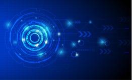 蓝色传染媒介技术背景,数字式事务 免版税库存照片