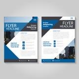 蓝色传染媒介年终报告传单小册子飞行物模板设计,书套布局设计,抽象蓝色介绍模板 库存例证