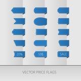 蓝色传染媒介价格丝带 辅助部件方式销售额标签 图库摄影