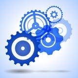 蓝色传染媒介齿轮,嵌齿轮,有阴影的轮子 免版税库存图片