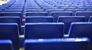 蓝色位子在西班牙体育场内 免版税库存图片