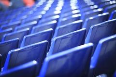 蓝色位子在西班牙体育场内 免版税库存照片