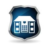 蓝色住家安全控制码按钮 库存照片