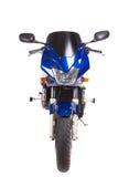 蓝色体育摩托车 正面图 库存图片