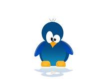蓝色例证企鹅场面 免版税图库摄影