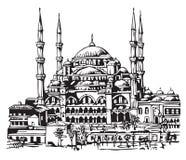 蓝色例证伊斯坦布尔清真寺 免版税库存照片