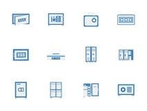 蓝色保险柜和衣物柜平的象 免版税库存图片