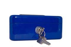 蓝色保险箱 库存图片