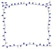 蓝色假日点燃光明节或圣诞节的框架