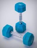 蓝色健身齿轮 免版税库存图片
