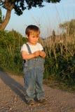 蓝色儿童牛仔裤 免版税库存照片