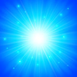 蓝色光亮的传染媒介太阳背景 库存例证