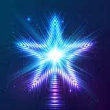 蓝色光亮的传染媒介星 免版税库存图片