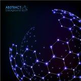 蓝色光亮的宇宙六角栅格传染媒介光亮的球形 向量例证
