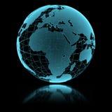 蓝色光亮的透明地球地球 库存图片