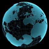 蓝色光亮的透明地球地球 免版税图库摄影