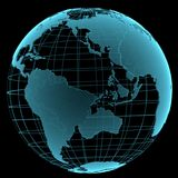 蓝色光亮的透明地球地球 免版税库存图片