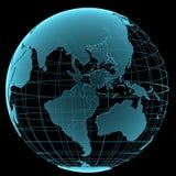 蓝色光亮的透明地球地球 免版税库存照片