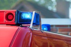 蓝色光和警报器 库存图片