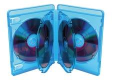 蓝色光芒光盘配件箱 免版税库存图片