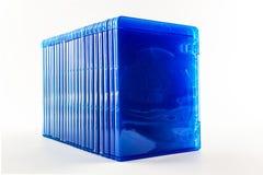 蓝色光芒圆盘箱子。 图库摄影