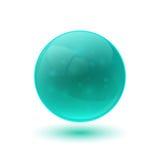 蓝色光滑的玻璃球形 免版税库存图片