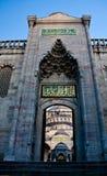 蓝色入口清真寺 库存照片