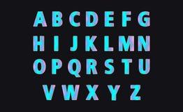 蓝色全息照相的字母表 集合现代五颜六色的明亮的梯度在字体上写字 向量例证