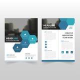 蓝色六角形传染媒介年终报告传单小册子飞行物模板设计,书套布局设计,抽象企业介绍