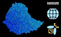 蓝色六角形埃塞俄比亚地图 向量例证