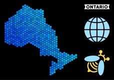 蓝色六角形安大略省地图 皇族释放例证