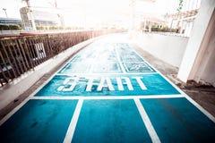 蓝色具体跑道、走道和跑步的方式 免版税图库摄影