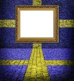 蓝色典雅的标志框架样式瑞典墙壁 免版税库存图片