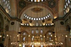 蓝色内部伊斯坦布尔清真寺 库存图片