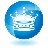 蓝色冠图标 免版税库存图片