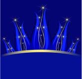 蓝色冠黑暗的花表单星形 图库摄影