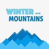 蓝色冬天的山 免版税库存照片