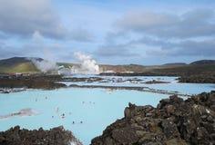 蓝色冰岛盐水湖 免版税库存照片