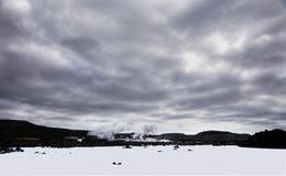 蓝色冰岛盐水湖 免版税库存图片