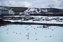蓝色冰岛盐水湖 库存图片