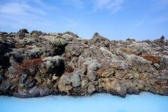 蓝色冰岛盐水湖 库存照片