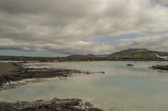 蓝色冰岛盐水湖 免版税图库摄影