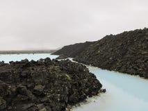 蓝色冰岛盐水湖 图库摄影