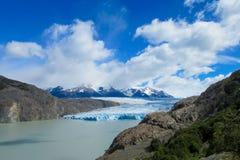 蓝色冰巴塔哥尼亚人的冰川冰山在湖浇灌 免版税库存图片
