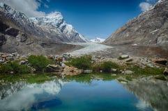 蓝色冰河湖:在水镜子反射与白色云彩的明亮的天空,沿水的边缘的绿色植物和巨大 免版税库存图片