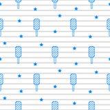 蓝色冰淇凌镶边线无缝的样式 库存例证