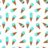 蓝色冰淇淋无缝的样式 库存例证