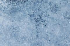 蓝色冰纹理,抽象背景 免版税库存照片