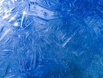 蓝色冰纹理 免版税库存照片