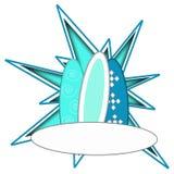 蓝色冲浪板海浪界面象征徽标设计 免版税库存图片